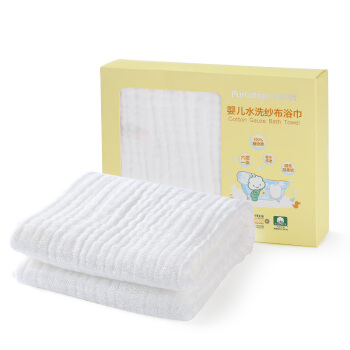 Purcotton 全棉时代 800-000278-01 婴儿水洗纱布浴巾 白色(95x95cm)