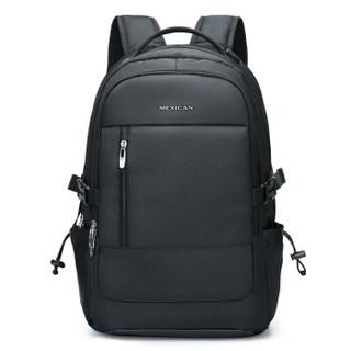 稻草人MEXICAN双肩包男 15.6英寸大容量笔记本电脑包多功能旅行背包书包50470黑色