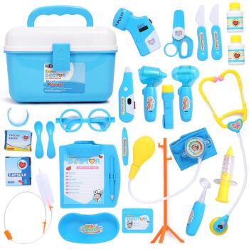 爸爸妈妈 医生玩具25件套装 过家家儿童 带光电 B1001蓝色 *4件