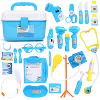 爸爸妈妈(babamama)医生玩具25件套装 过家家儿童 带光电 B1001蓝色 *4件