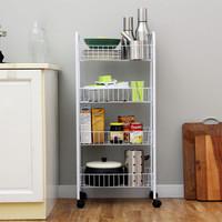 欧润哲 层车 4层车可移多用途固定篮层架置物架厨房浴室储物架杂物整理架 白色 *3件