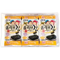 京东PLUS会员 : 韩国进口ZEK海苔即食寿司紫菜包饭海味小吃橄榄油3包儿童营养健康休闲零食12g *23件