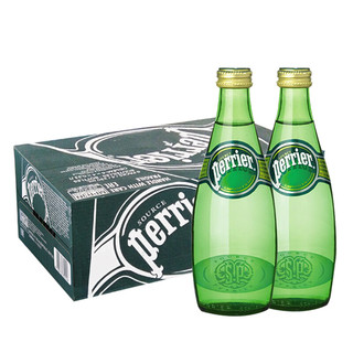 巴黎水(Perrier)天然气泡矿泉水(原味)玻璃瓶装 330ml*24瓶/箱 进口饮用水 法国进口