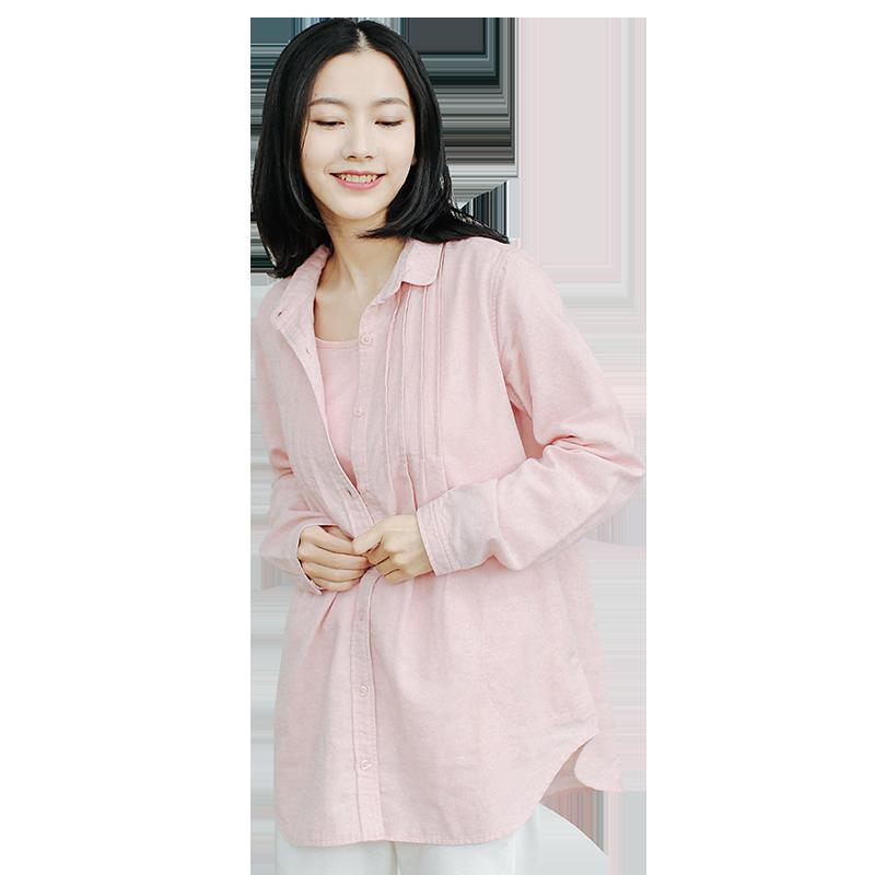 网易严选 会呼吸的哺乳衬衣(带背心) (粉色/灰色、M/L)