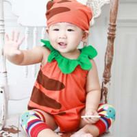 Augelute 宝宝无袖三角爬服帽子2件套 0-3岁