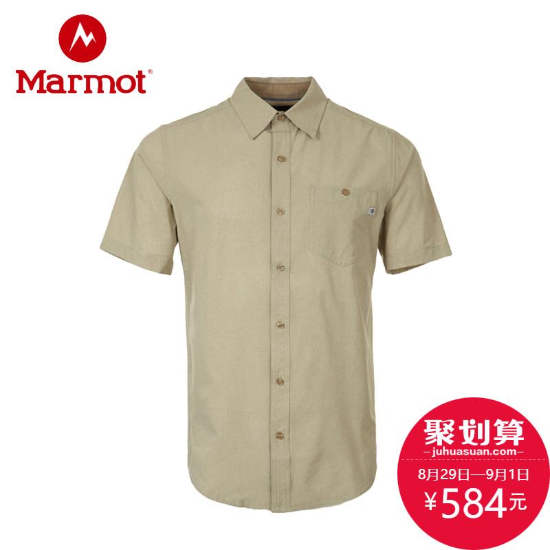 marmot/土拨鼠2018新款户外速干吸湿排汗弹力男士翻领衬衫S54500 (M、蓝色)