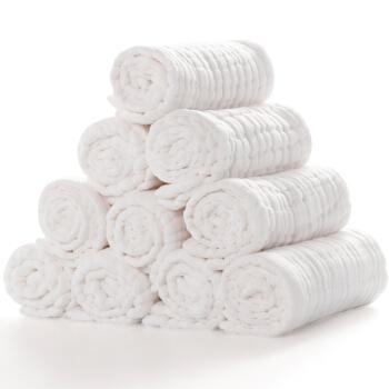 威尔贝鲁(WELLBER)加大 婴儿12层水洗纱布尿布(10入)50*18cm *4件
