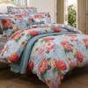 富安娜家纺 圣之花 四件套纯棉床上用品1.8米全棉床单被套 蓝色 1.8米 床 229元