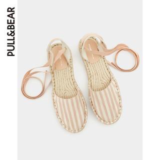 PULL&BEAR 11460311 女士条纹绑带草编平底鞋 (肉色、38)