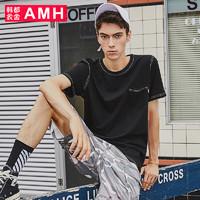 HSTYLE 韩都衣舍 AMH NZ8212 男士圆领短袖T恤 (黑色、S)