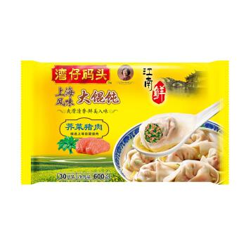 湾仔码头 上海风味荠菜猪肉大馄饨 600g 30只 儿童早餐 小馄饨 云吞面 火锅食材 方便菜 *5件
