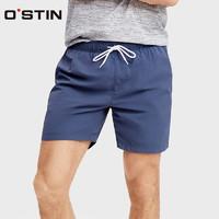 OSTIN MP4S99 男士系带短裤 (黑蓝、W38)