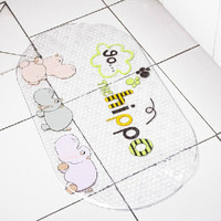 青苇个性PVC浴室防滑 地垫脚垫 河马 底部吸盘设计 *2件