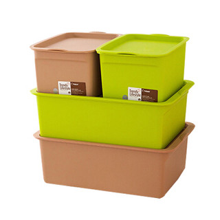 Citylong 禧天龙 0716 塑料收纳盒4件套 草绿+咖啡 *3件