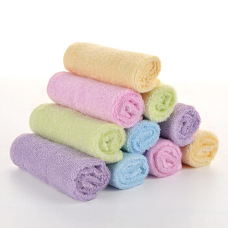 竹之锦 8003 竹纤维素色儿童方巾 20×20cm 5条装