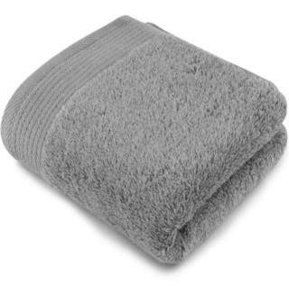 三利 A类加厚长绒棉 缎边大面巾 纯棉洗脸毛巾 柔软舒适 带挂绳 婴儿可用 银灰色 *10件