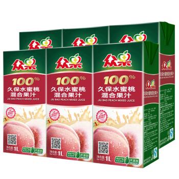 众果 100% 久保水蜜桃 混合果汁 1L×6盒