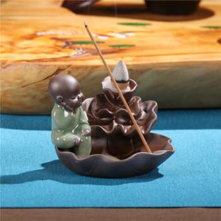 尚帝(shangdi)倒流香炉小和尚创意摆件茶道塔香檀香薰高山流水 哥窑冥想荷叶玻璃倒流香粒2件套