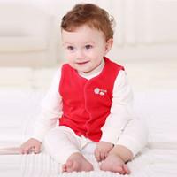 京东PLUS会员 : 贝贝怡春款季婴儿衣服上衣男女宝宝双面穿小马甲 红白 120 *7件