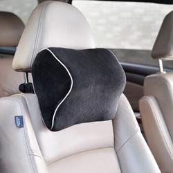 卡饰社汽车头枕 颈枕 3D水晶绒记忆棉 护颈枕靠枕枕头车用 汽车用品CS-83109 黑色 *4件