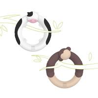gb好孩子 环型立体动物牙胶组合装(休憩时光猴子+奶牛) *2件