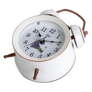 康巴丝(Compas)闹钟创意静音懒人机械打铃钟表家居小闹钟个性闹表学生儿童卧室床头时钟DL002白金