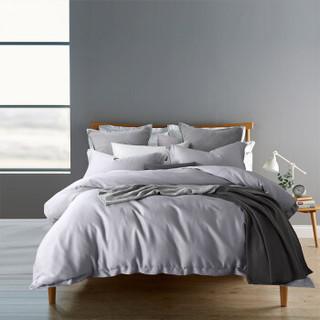 LENCIER 兰叙 睡起来很舒服 60支长绒棉全棉四件套 纯色贡缎织造 纯棉床单被套 白银灰 1.8米床 220*240cm