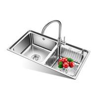 欧琳(OULIN)水槽双槽OLJD655-A+龙头套餐 304不锈钢洗菜盆洗碗池 加厚厨房大双槽