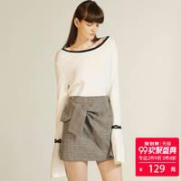 Lily 117340B8727 女士喇叭袖修身大圆领针织衫  (本白、M)