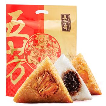 22点开始:五芳斋 速冻粽子礼袋 五芳团圆 5口味 1000g (10只) *6件