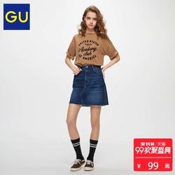 GU 女装 牛仔迷你裙(水洗产品) 306220 极优