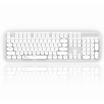 RK RK960圆点机械键盘有线/无线蓝牙双模办公键盘104键复古圆键帽笔记本键盘白光银色青轴