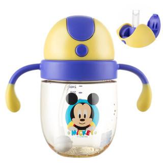 迪士尼(Disney)宝宝学饮杯吸管杯 儿童水杯子防漏带手柄PPSU水壶 310ml湛蓝米奇