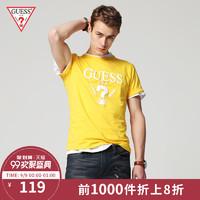 GUESS MI2K9407K 男士LOGO短袖T恤 (黄色、M)