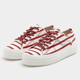 PULL&BEAR 11223311 女士红色条纹橡胶底厚底鞋