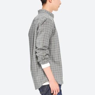 UNIQLO 优衣库 411902 男士法兰绒格子衬衫 (铅灰色、XL)