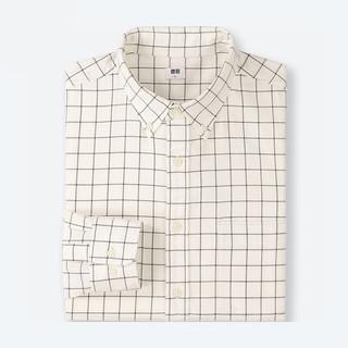 UNIQLO 优衣库 411902 男士法兰绒格子衬衫 (乳白色、S)