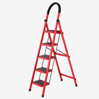 奇晟铭源 LC-117 家用五步梯子 D形管 红色