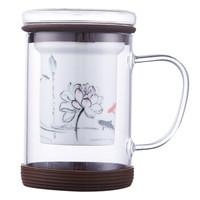 U+ 悠佳 U-2042-Z 陶瓷过滤玻璃杯 400ML 棕色