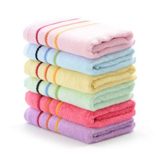 竹一百 竹纤维毛巾  34*76cm 彩条款 六条装