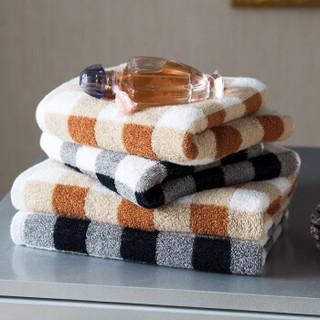 洁丽雅·兰(grace·orchid)毛巾浴巾 高档色织格子长绒棉面巾 二条装