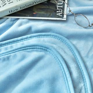 LOVO HOME 罗莱生活 抑菌防螨法兰绒毯 纯色之恋-蓝色 200*230cm