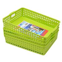 Jeko&Jeko SWB-5215 塑料收纳篮 35*26*8cm 绿色 4只