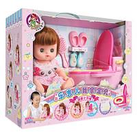 乐吉儿 仿真咪露洋娃娃 儿童娃娃女孩婴儿玩具 浴室过家家套装 生日礼物 语音小马桶A052 *7件