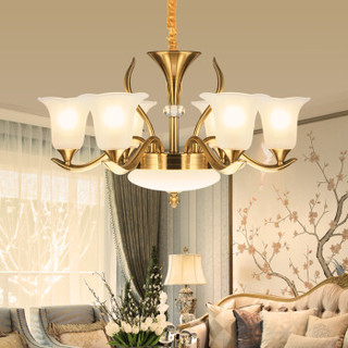 NVC Lighting 雷士照明 雷士(NVC)欧式客厅吊灯 大气LED美式复古灯具 新中式别墅灯具灯饰 6头 EODⅦ9001