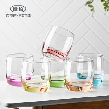 佳佰 彩色玻璃杯6个装 玻璃杯水杯 杯子茶杯 创意家用 果汁饮料杯早餐牛奶杯