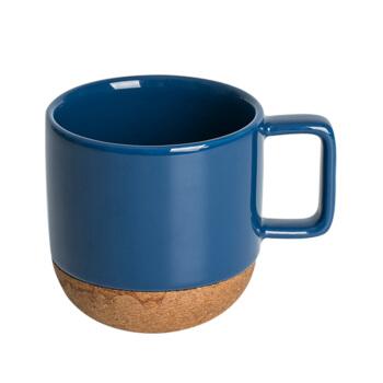 网易严选 软木陶瓷马克杯 大容量创意水杯家用办公咖啡杯杯子 绅士蓝 *4件