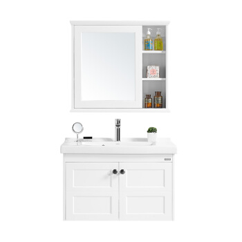 HUIDA 惠达 HDGM794 浴室柜组合套装 (80cm、浴室柜套装、实木、悬挂式、一体陶瓷盆)