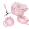 Aing 爱音 儿童不锈钢注水保温碗套装 (5件套装、粉色)