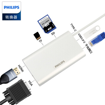 PHILIPS 飞利浦 SWR1608F USB-C扩展坞 TYPE-C转HDMI/VGA/PD/TF/SD读卡器